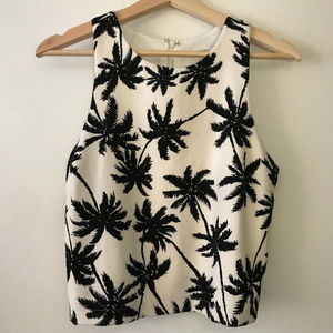Gianni Bini Black and White Palm Tree Crop Top